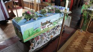 Hand decorated and painted coffin